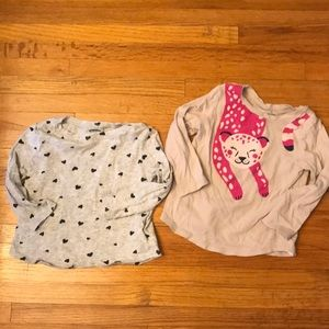 Set of 2: Old Navy Long Sleeve Tees: Hearts&Cat 2T